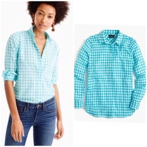 J Crew • relaxed boy shirt crinkle gingham top